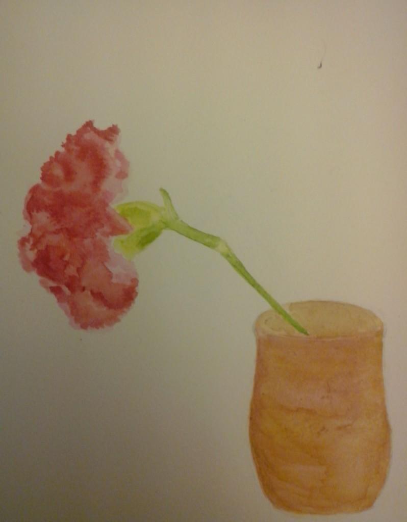 Un oeillet de mars, en vase